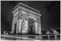 Arc, Triomphe, Paris, France, errie, sunset, rain, Champs, Elysees, monument, Revolution, Napoleonic, Napoleon, Trimphal, timeless, black and white, long exposure