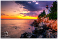 Sunset, Harbor, Lighthouse, Ocean, Sea, Rocks, Edge, Maine, New England