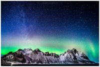 Iceland, Vesturhorn, northern lights, aurora, mountain, tidal, glow, milky way
