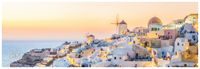 Greece, Santorini, Greek, Islands, Oia, sun, horizon, panoramic, golden