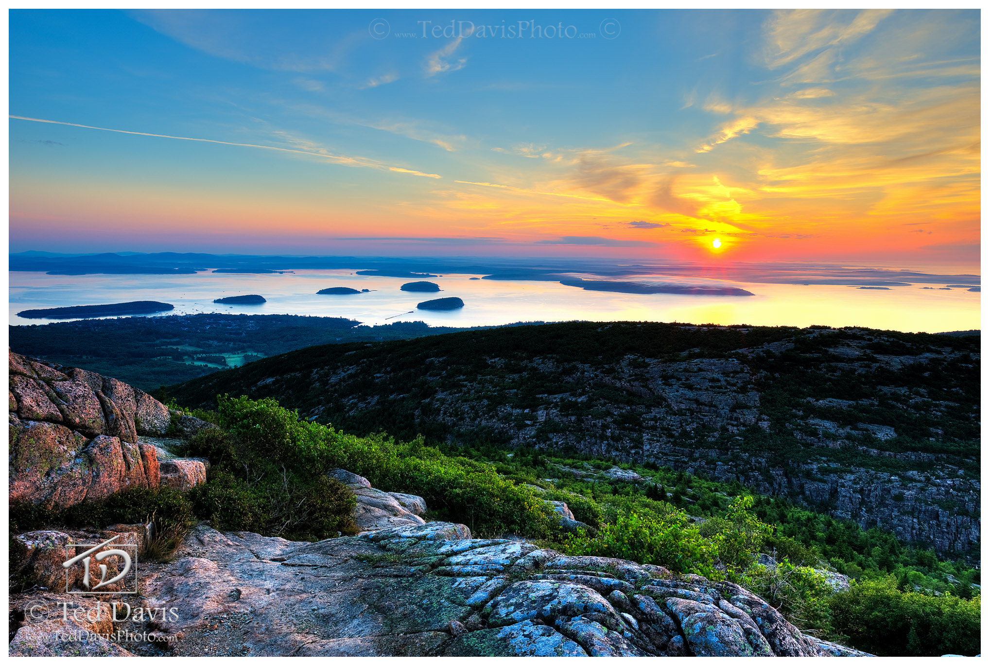Harbor, Sunrise, Ocean, Bar, Sea, Glow, Maine, New England, Cadillac, Mountain, photo