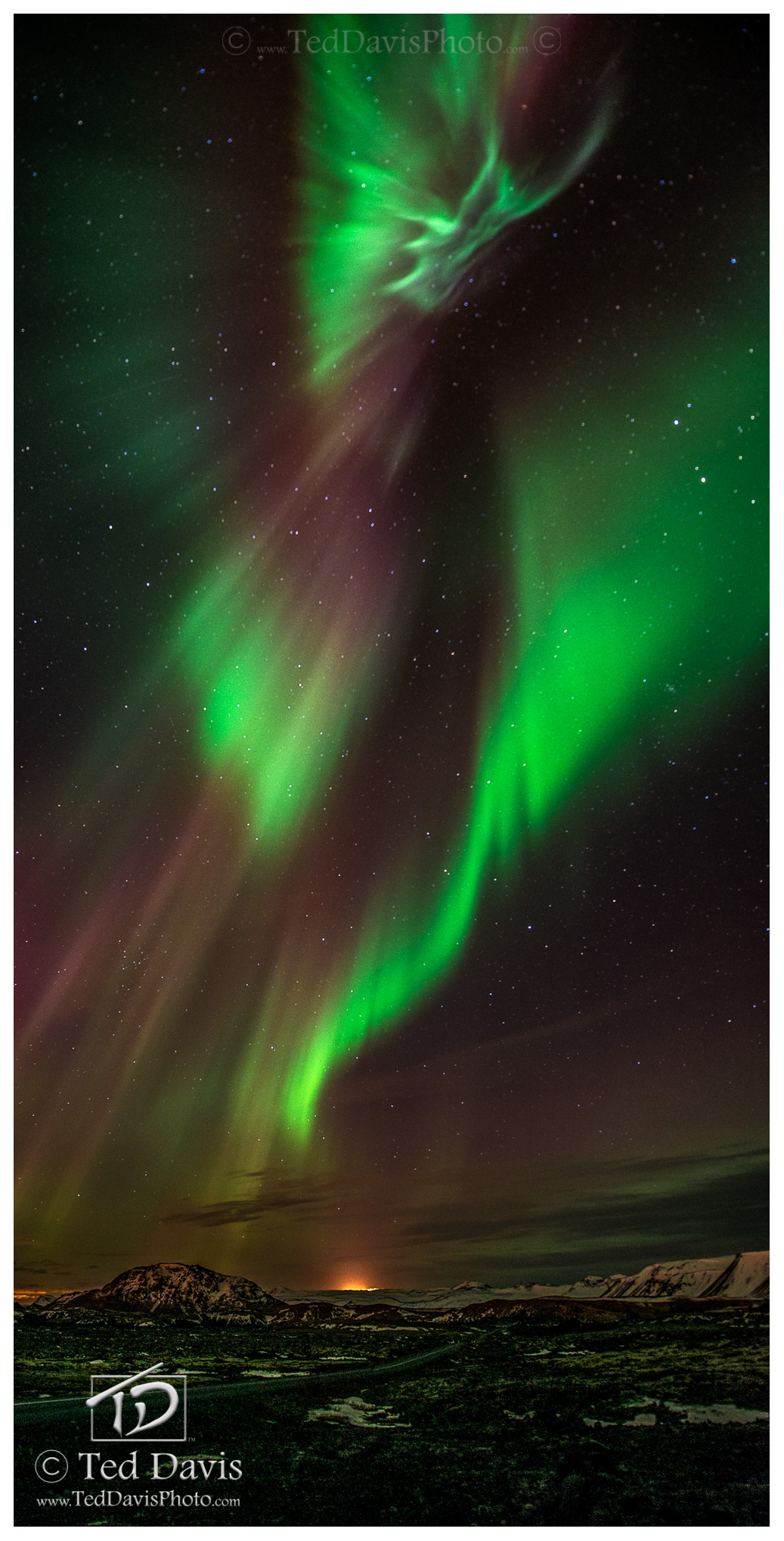 aurora, sky, iceland, mountain, photo