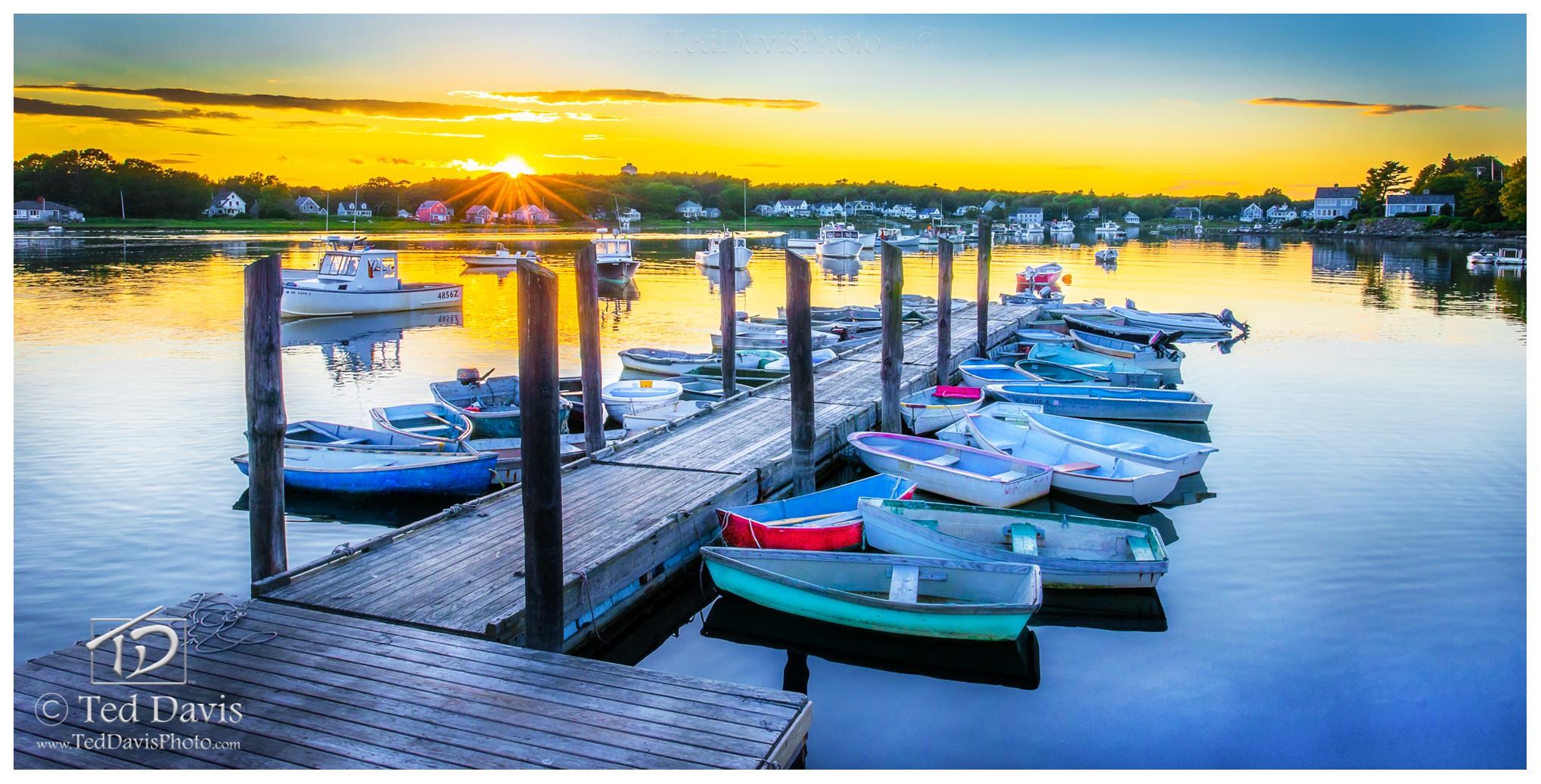 dingy, cape porpoise, evening, sun, langsford, ocean, photo, limited edition, shot, pier, harbor, maine