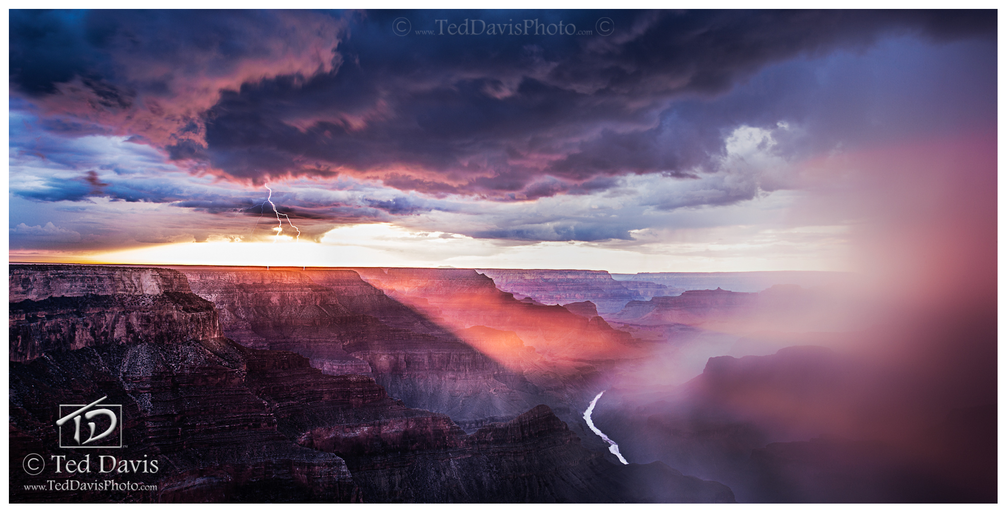 lightning, grand, canyon, arizona, thunderstorm, South Rim, Rim, Rain, walls, Colorado, River, Danger, sun, setting sun, sunset, clouds, rays, cutting, Mother nature, powerful, photo