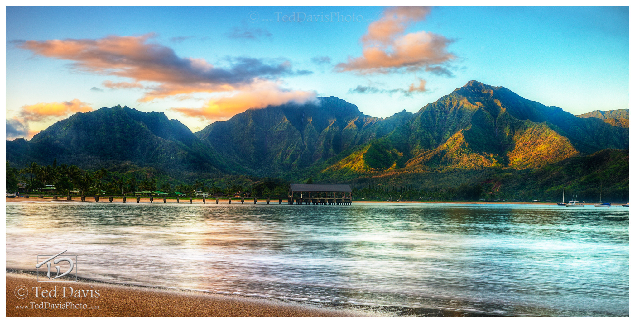 hanalei, rising sun, pier, landscape, sunrise, kaua'i, waves, tide, mountains, clouds, valley, reflecting, morning, photo
