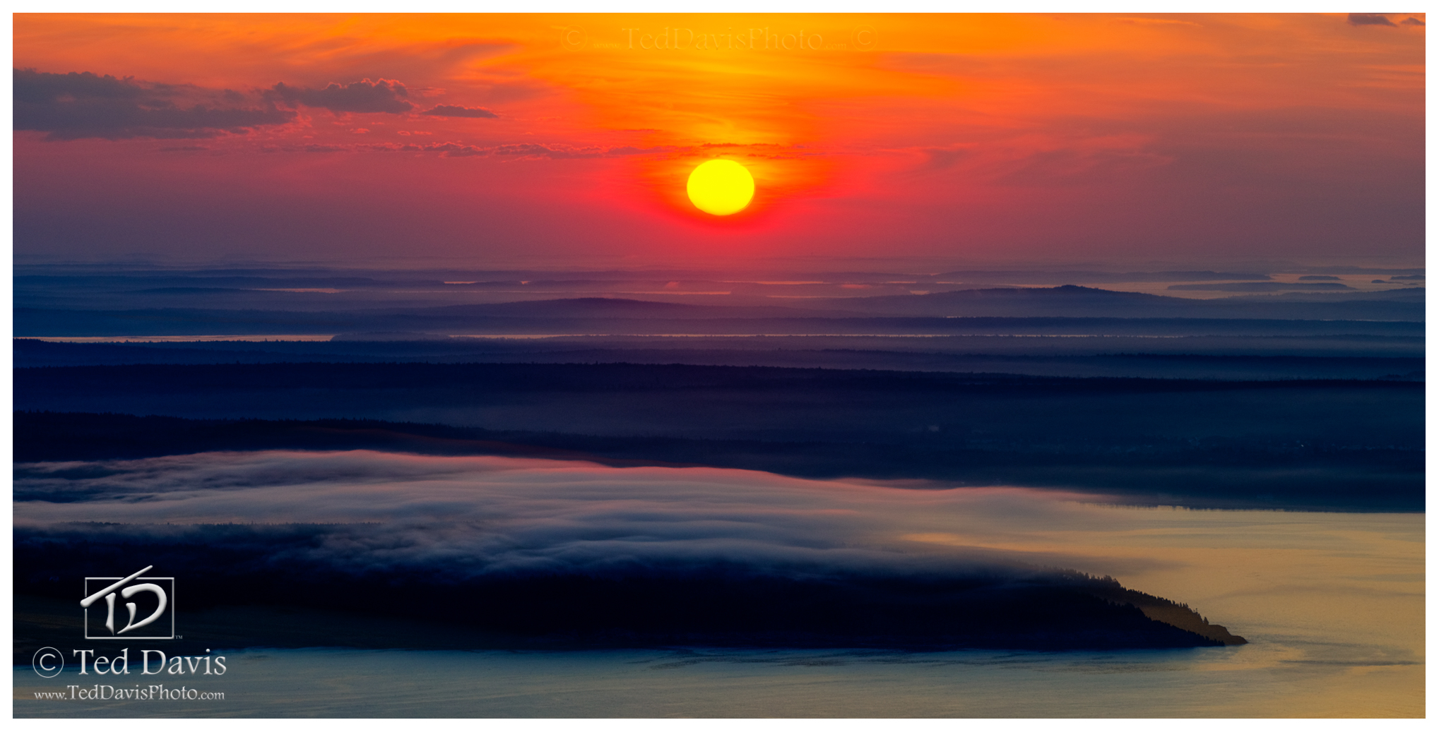 Limited Edition of 200 A long shot of a rising sun over mist shrouded islands off the northern coast of Maine. Fantasy.