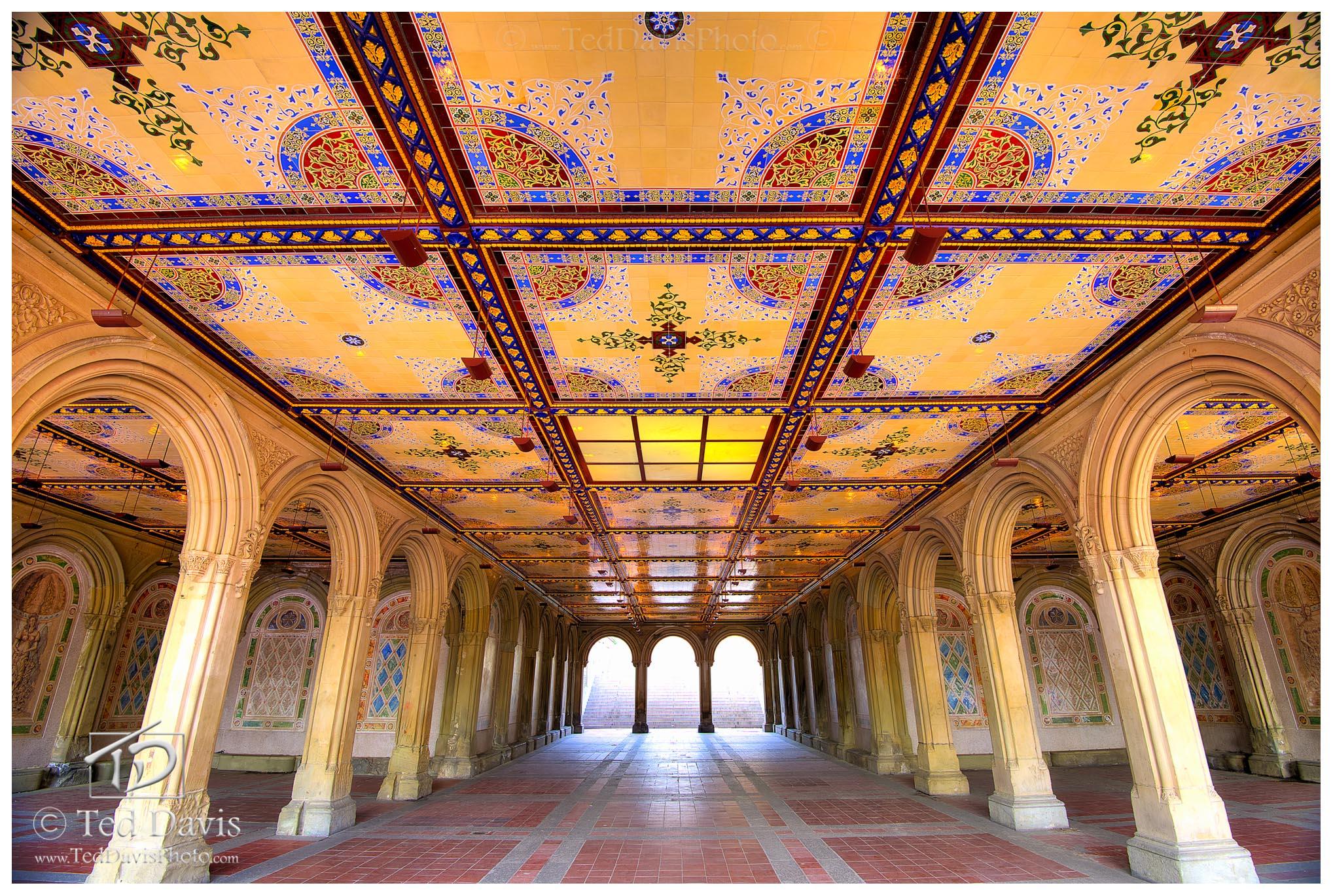 mosaic, New York, Central Park, lake, photo