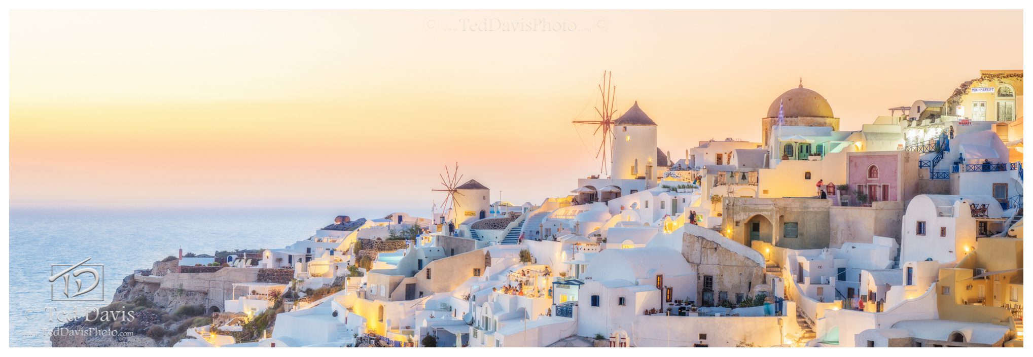 Greece, Santorini, Greek, Islands, Oia, sun, horizon, panoramic, golden, photo