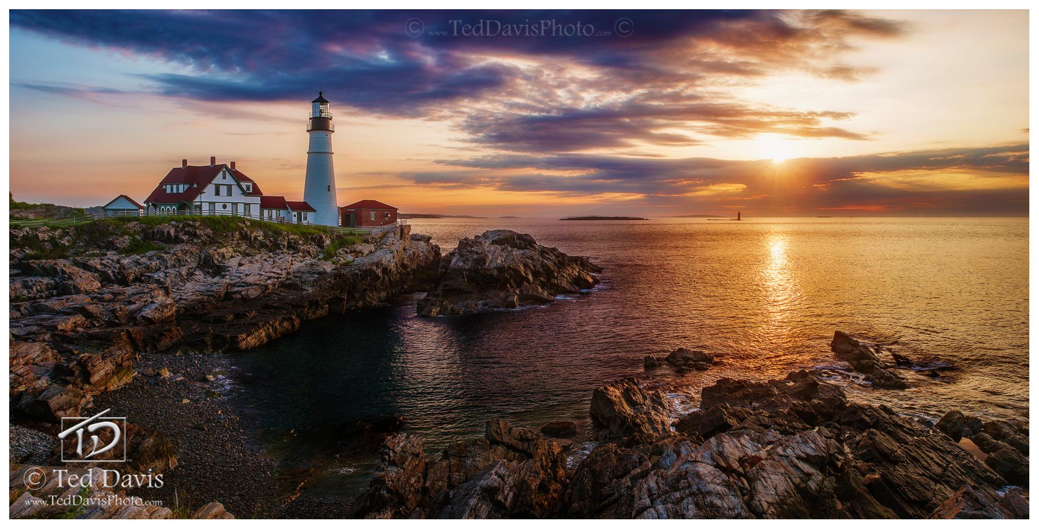 maine, lighthouse, cape elizabeth, portland, sun, horizon, photo