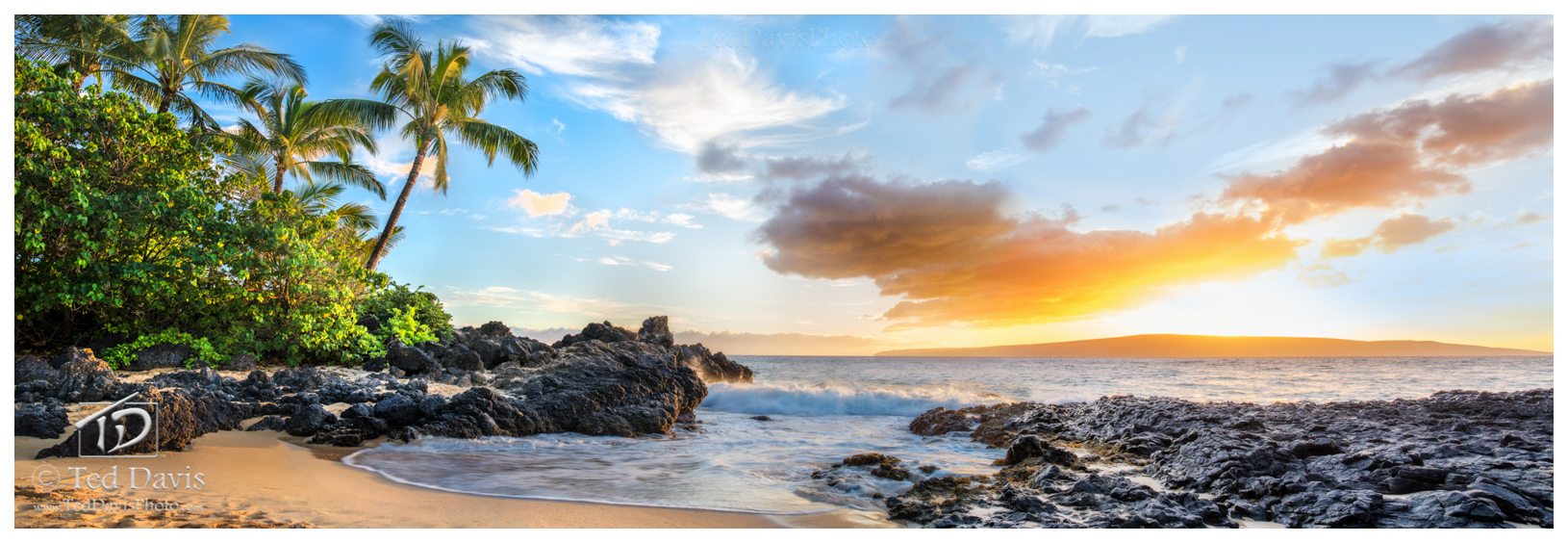beech, secret, cove, maui, hawaii, sunset, beautiful, west, shore, sunrise, voice, vision, waves, volcanic, sun, trees, palm, photo
