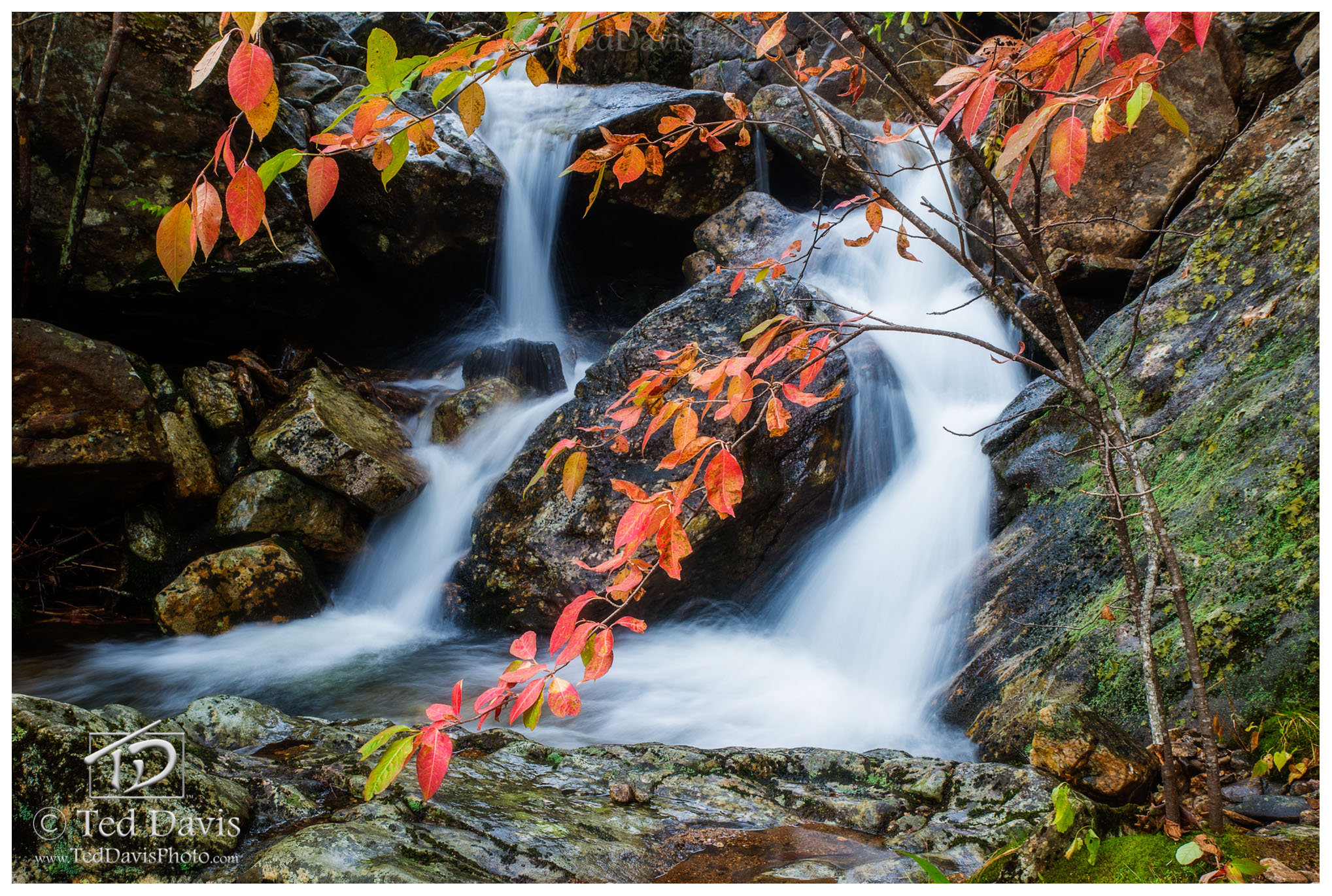 smokey, mountains, stream, waterfall, landscape, fall, rolling mountain, photo