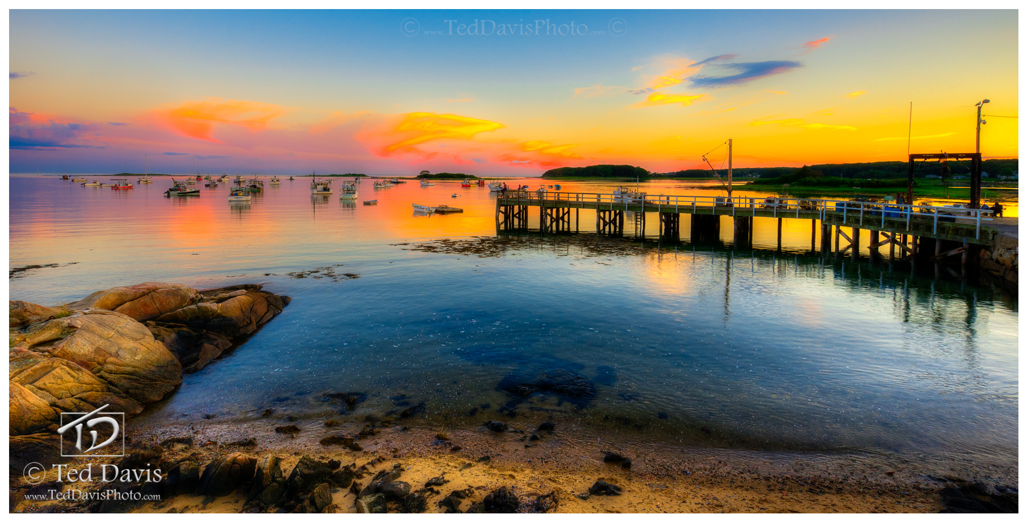 Cape Porpoise, pier, ocean, sunset, harbor, photo