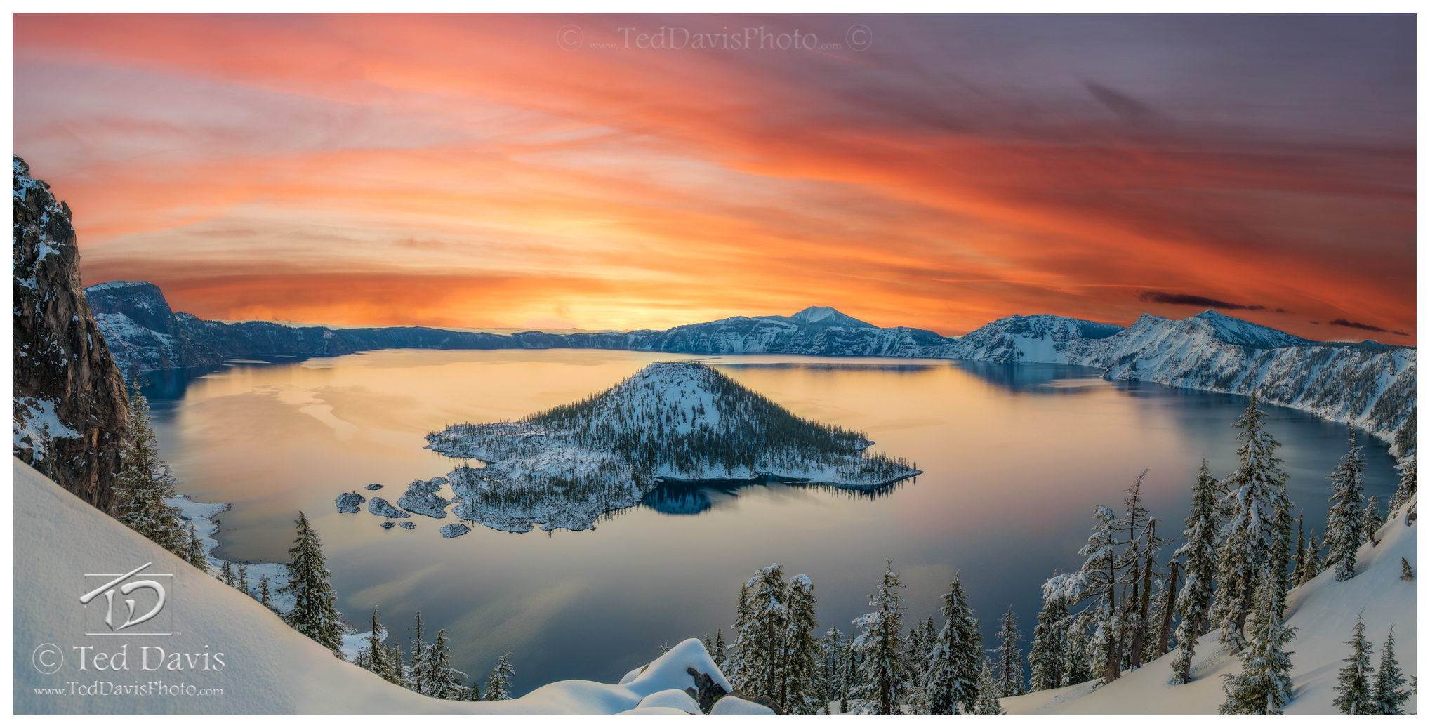 photograph, art, landscape, travel, sunrise, sunset, water, mountain, crater, lake, snow, winter, photo